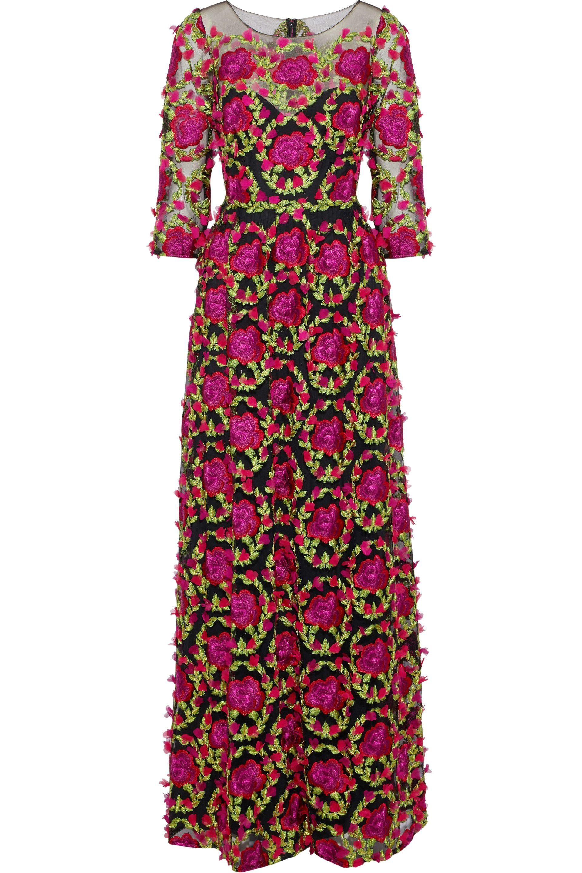 32a2cefac8 Marchesa notte. Women's Woman Floral-appliquéd Embroidered Tulle Gown  Fuchsia