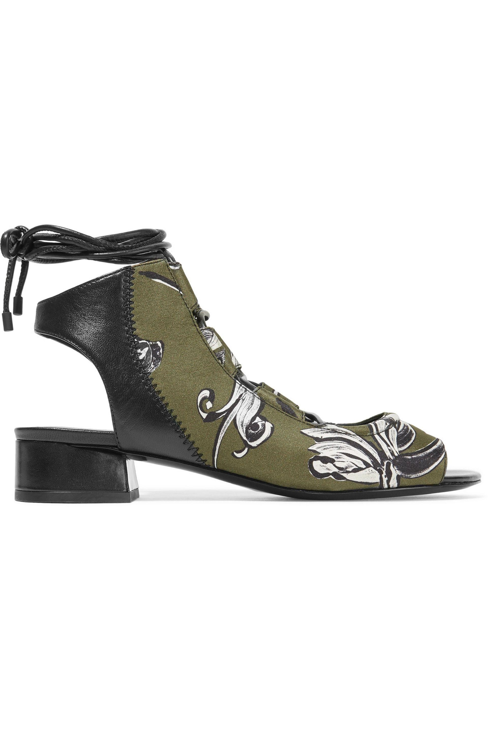 3.1 Phillip Lim. Women's Green Drum Lace-up Leather And Printed Neoprene  Sandals