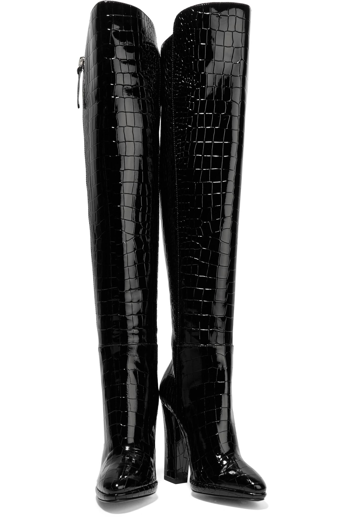 f5c573eea29 Giuseppe Zanotti Black Croc-effect Patent-leather Over-the-knee Boots