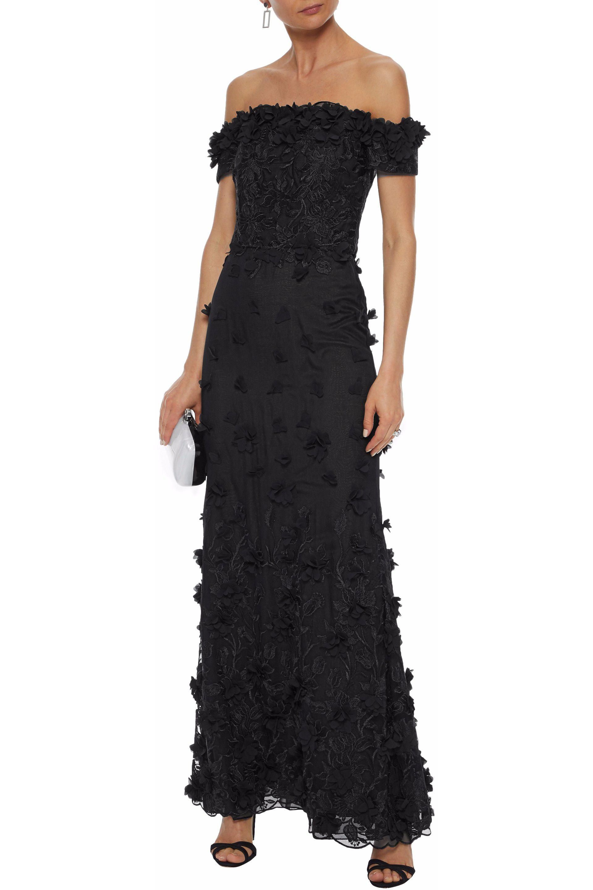 Off-the-shoulder Embellished Corded Lace And Tulle Gown - Black Marchesa Sale Recommend HsvahFUzv