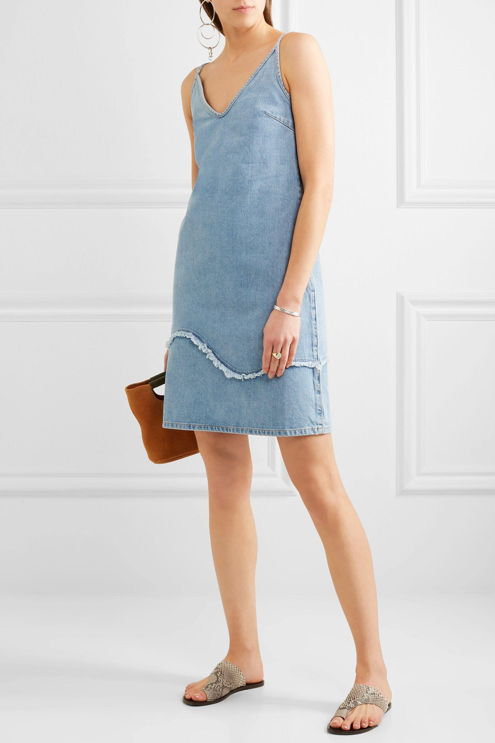 M.i.h Jeans Harley Frayed Denim Dress Mid Denim in Blue