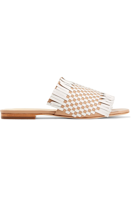Isa Tapia. Women's White Arietta Fringed Woven Leather Sandals