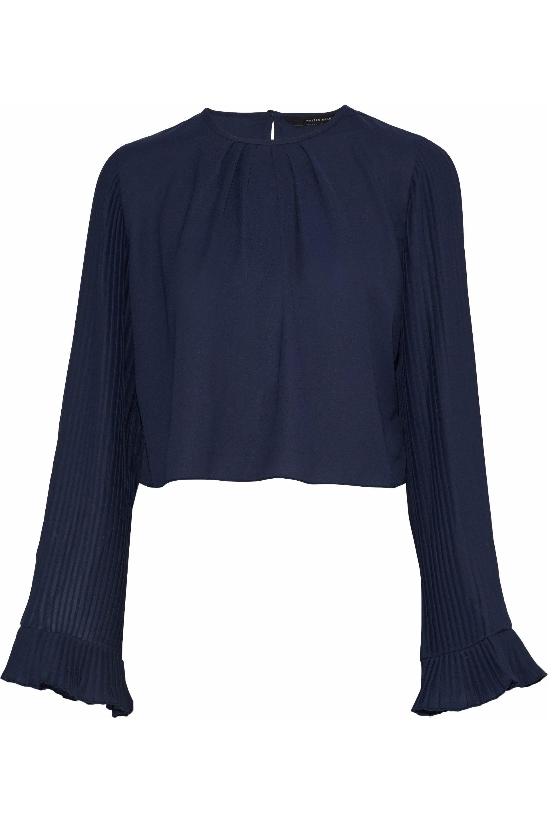 609965e505963e W118 by Walter Baker. Women s Blue Woman Valina Pleated Crepe De Chine ...