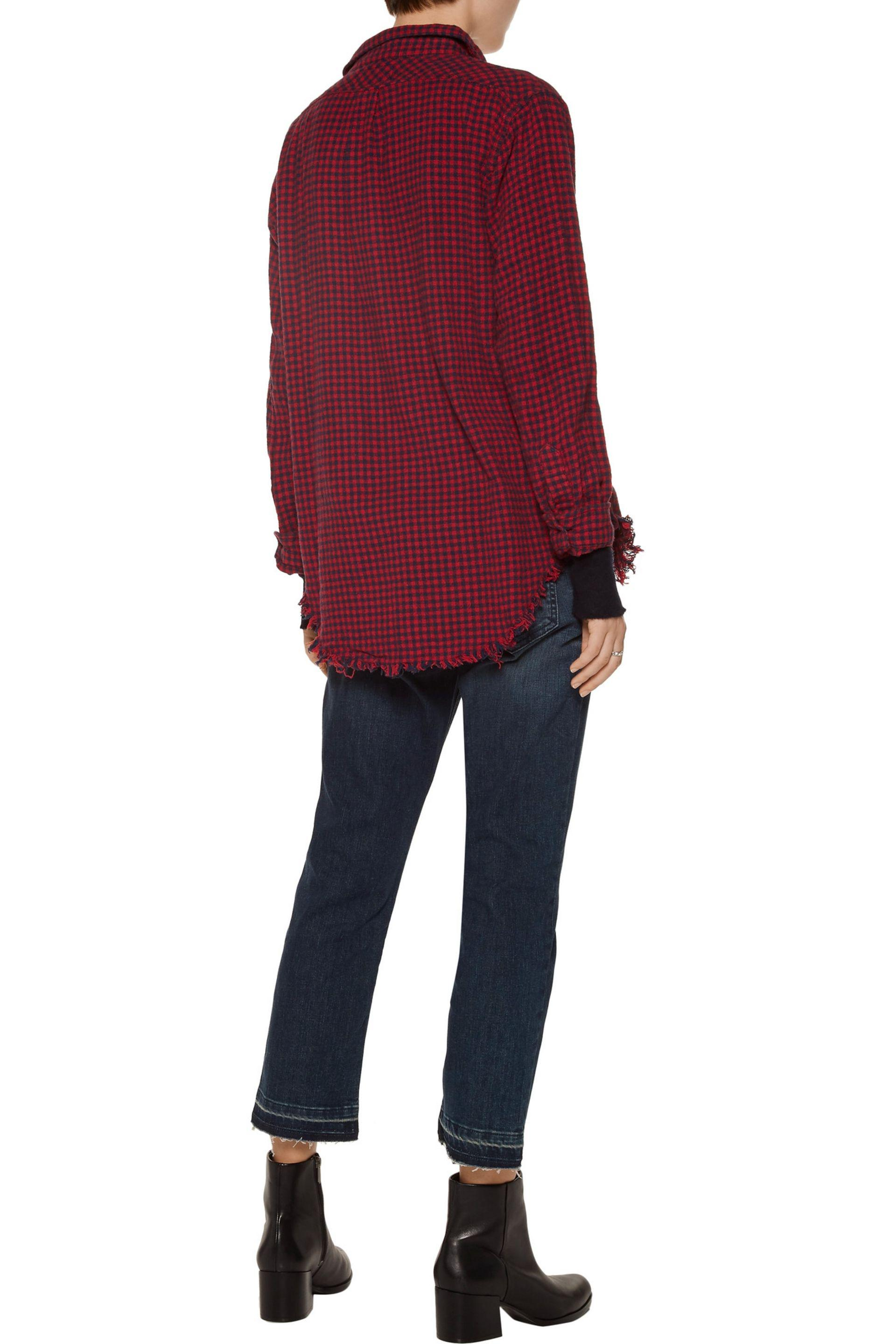 Current/Elliott | Red The Two Pocket Checked Cotton Shirt | Lyst. View  Fullscreen