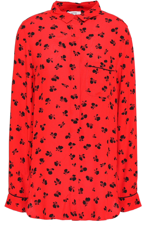 1ebdb168 Ganni - Woman Emory Floral-print Crepe De Chine Shirt Red - Lyst. View  fullscreen