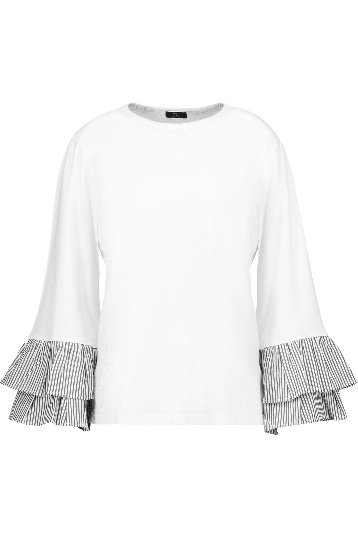 CLU. Women's White Pleated Striped Cotton Poplin-trimmed Cotton-jersey Top