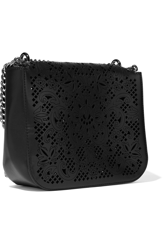 Leather Cut Bag Laser Black Women's Faux Shoulder gbf6yY7