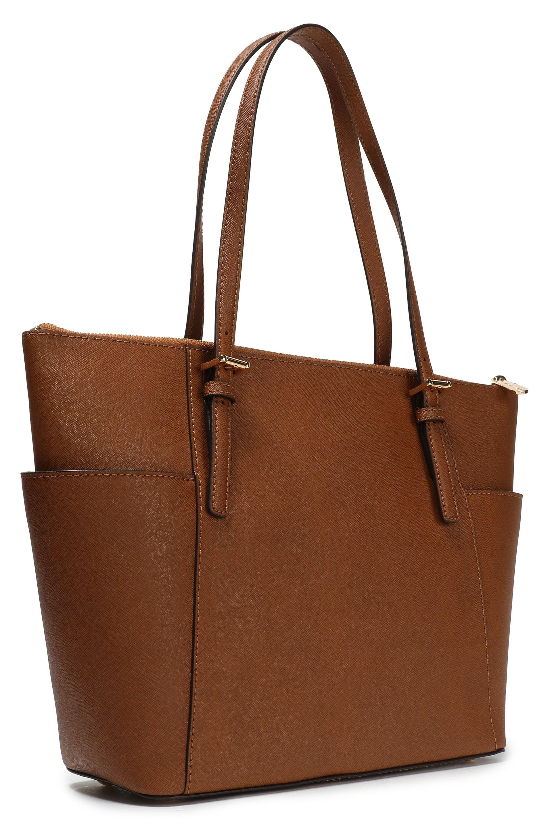 MICHAEL Michael Kors Jet Set Textured-leather Tote Brown