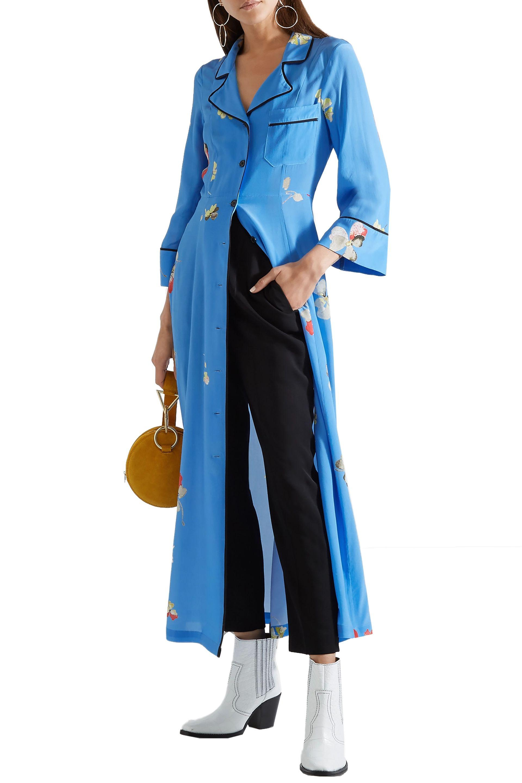 8220e1fa Ganni - Blue Woman Joycedale Floral-print Silk Crepe De Chine Maxi Dress  Azure -. View fullscreen