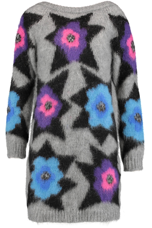 Just Cavalli Woman Metallic Intarsia-knit Mini Dress Gray Size M Just Cavalli wGq7x0JR