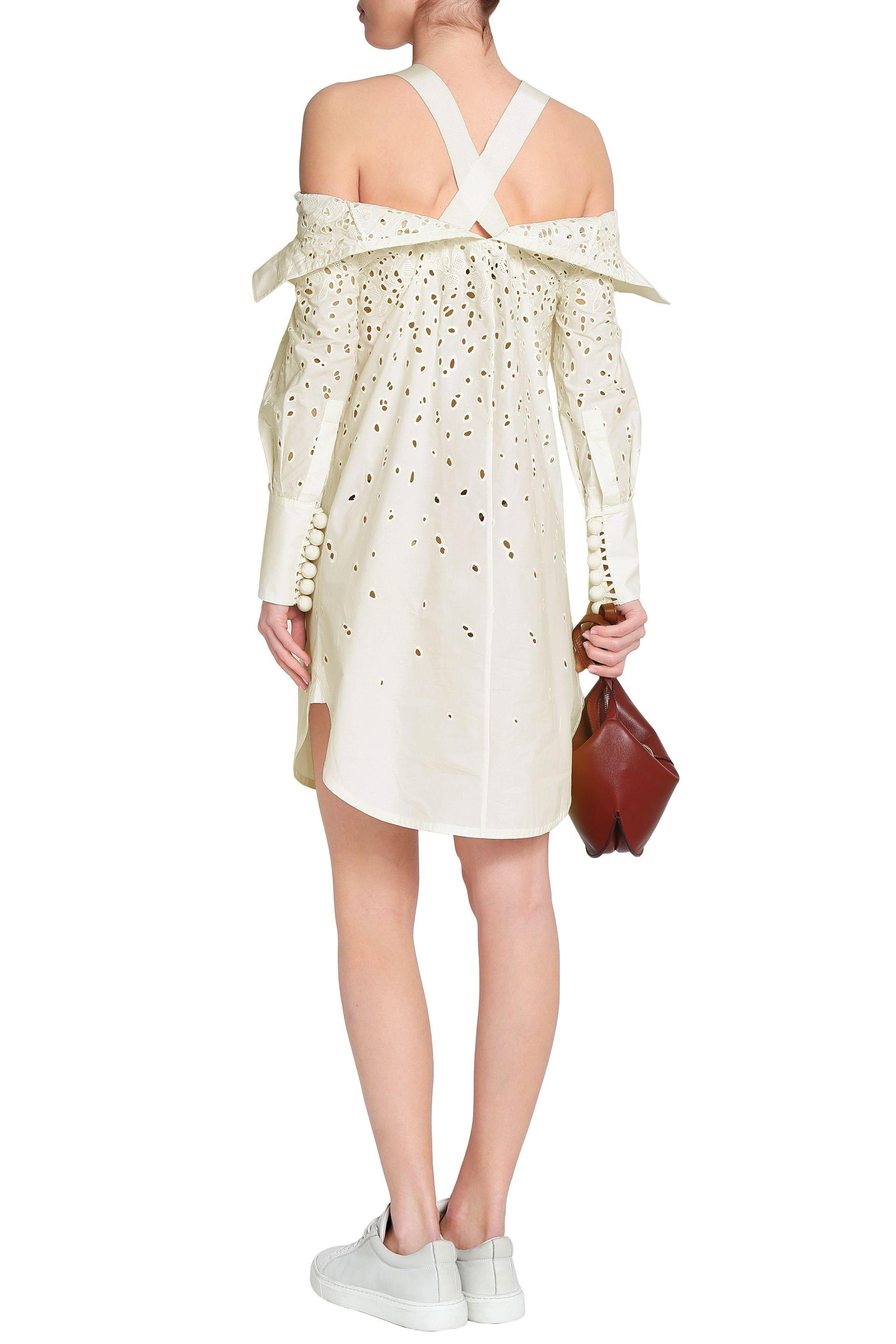 Proenza Schouler Cold-shoulder Broderie Anglaise Cotton-poplin Dress White