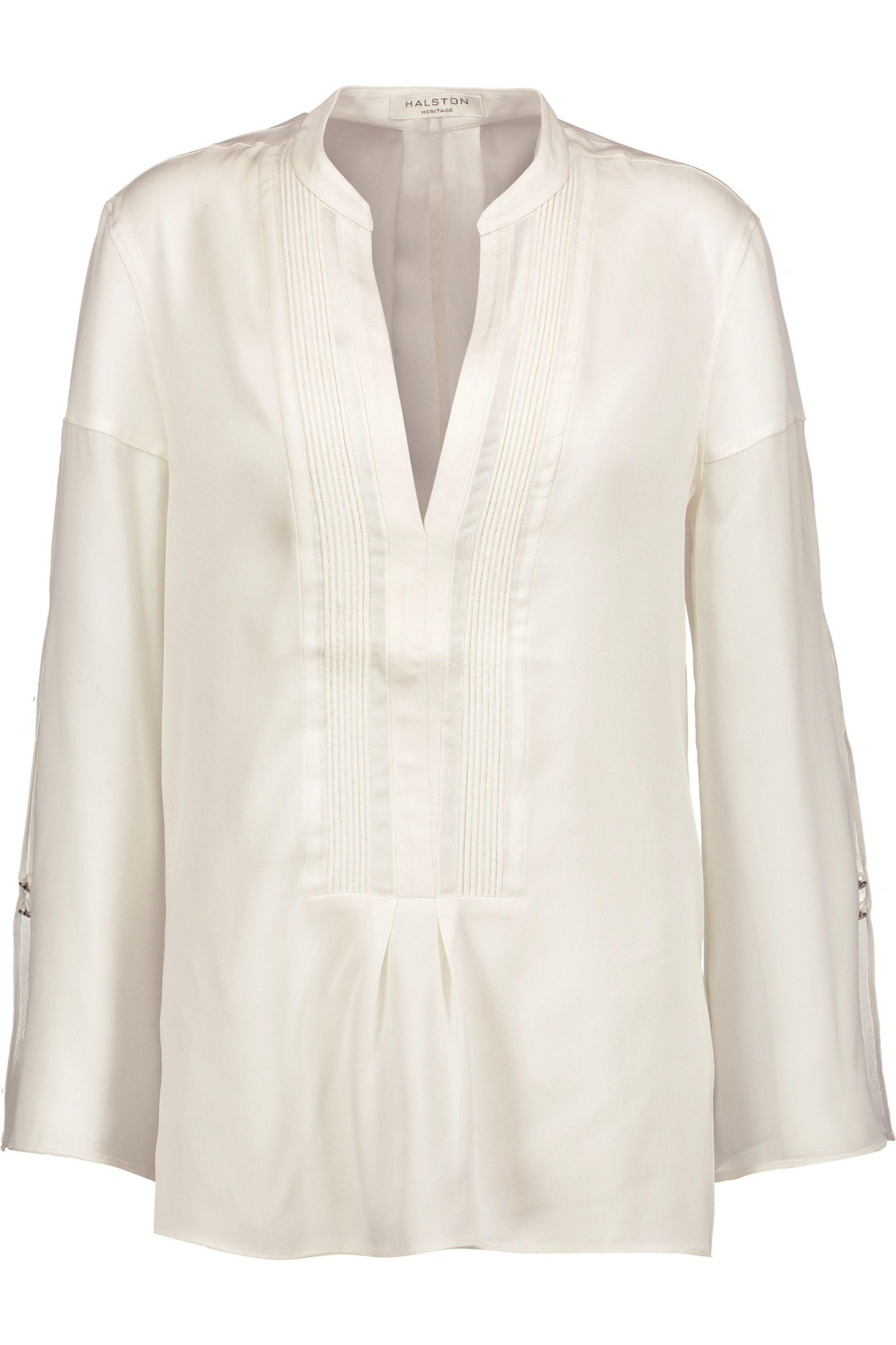 Free Shipping New Arrival Halston Heritage Woman Draped Printed Silk Crepe De Chine Top Ivory Size XL Halston Heritage Discount Fast Delivery Discount Shopping Online 38NqY4E