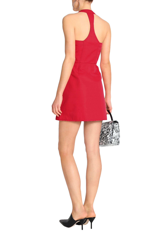 Victoria, Victoria Beckham Woman Open-back Zip-trimmed Twill Mini Dress Red Size 4 Victoria Beckham