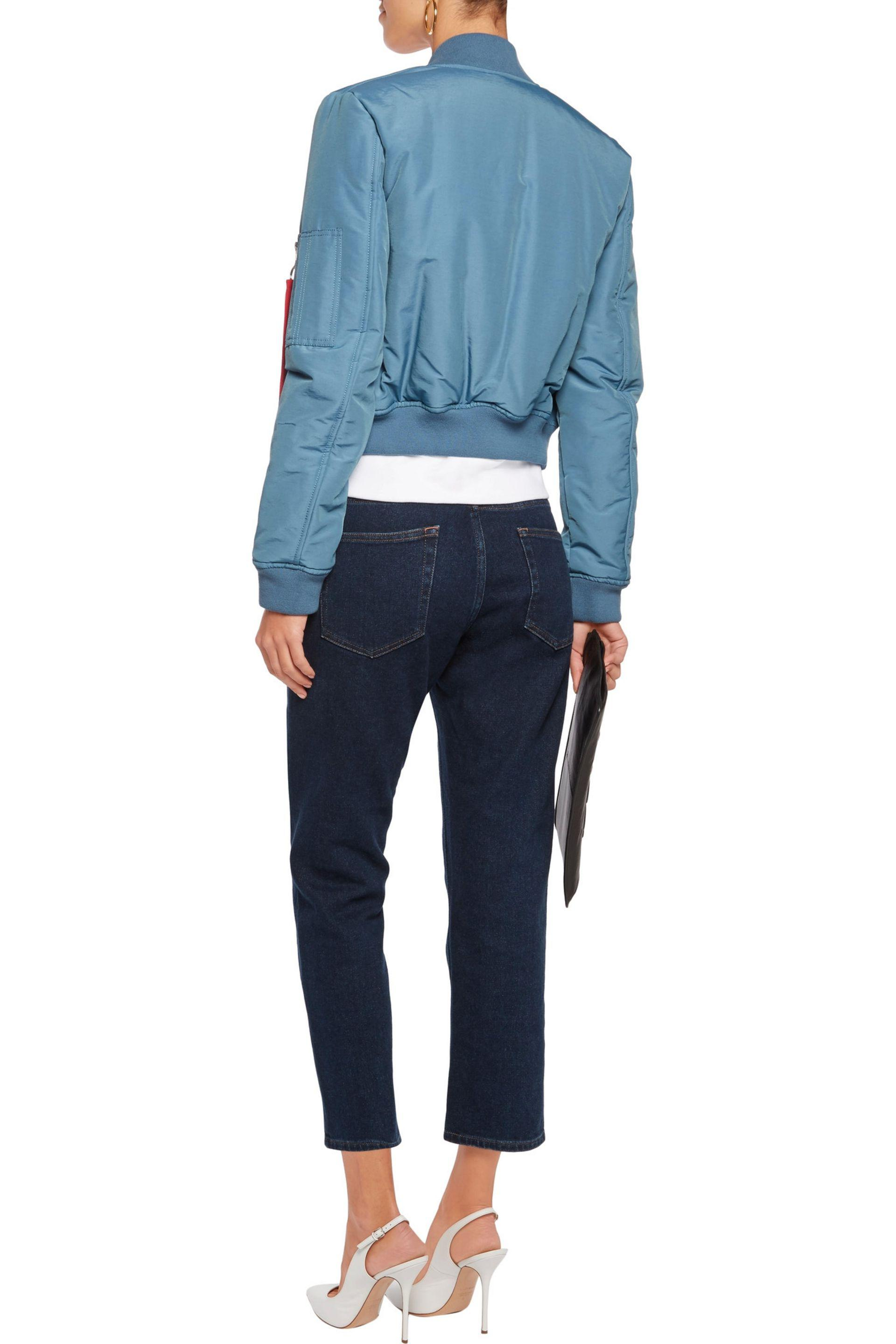 Love Moschino | Blue Cropped Padded Cotton-blend Bomber Jacket | Lyst. View  Fullscreen
