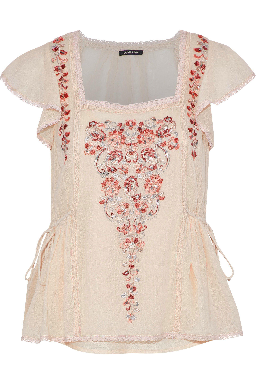26e44a91b79558 Love Sam - Multicolor Embellished Cotton-gauze Top Peach - Lyst. View  fullscreen