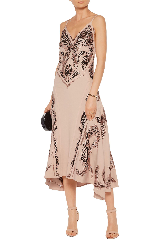 Roberto Cavalli Pink Embroidered Crepe And Tulle Midi Dress