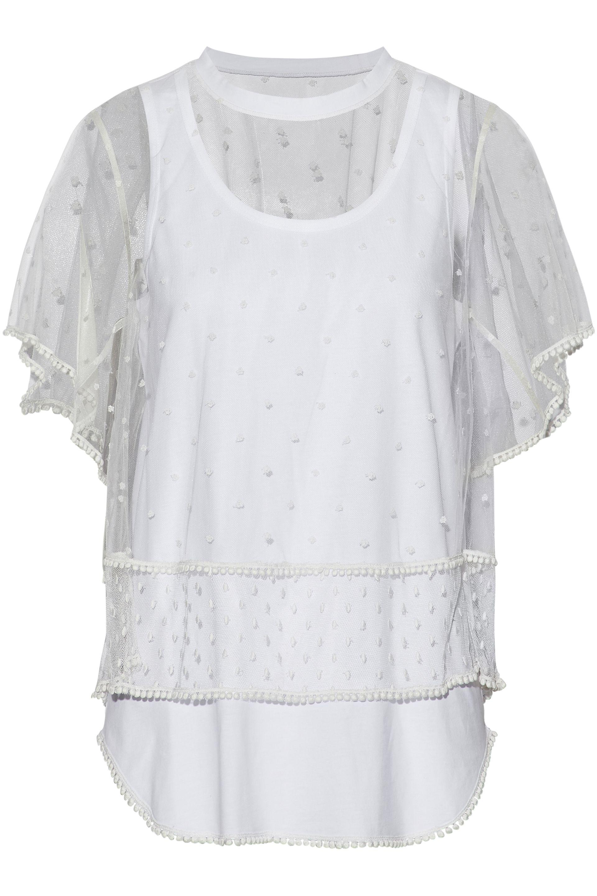 145f1967f Lyst - Chloé Layered Swiss-dot Tulle And Cotton-jersey Top in White