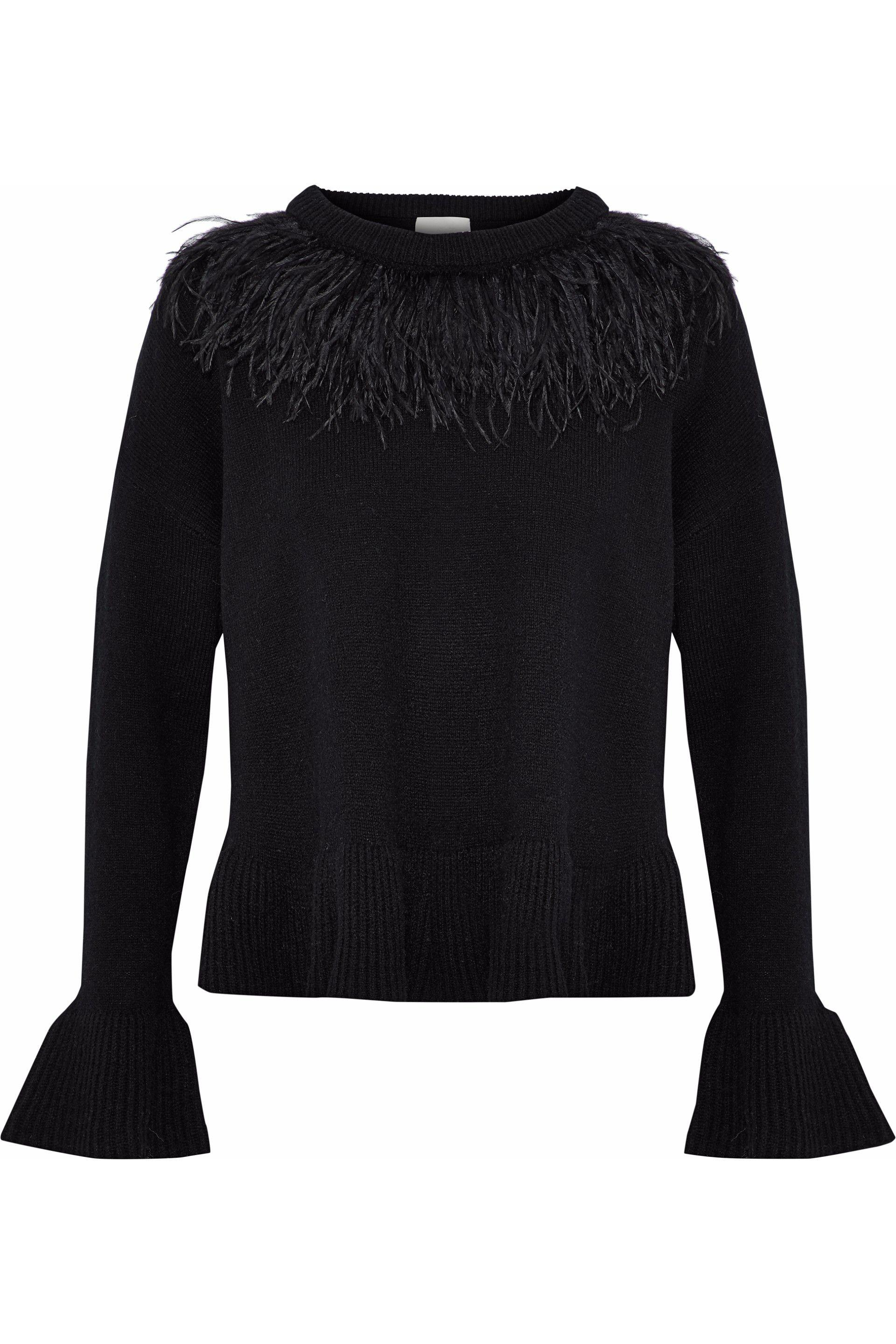 Cinq À Sept Woman Noa Ruffle-trimmed Wool-blend Cardigan Black Size M Cinq à Sept Visit Outlet Cheap Prices K3saf