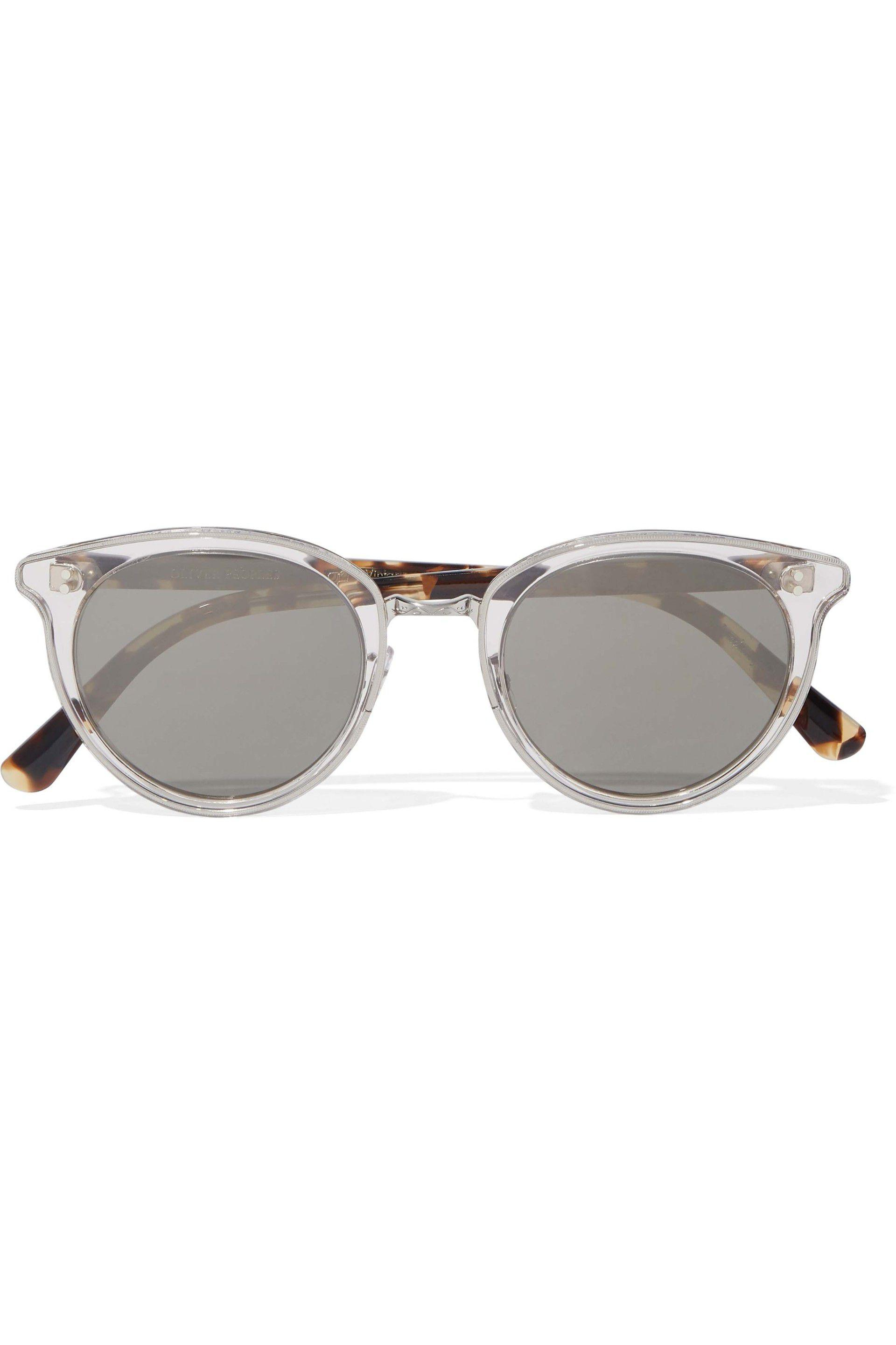 86de422b0ef Lyst - Oliver Peoples Round-frame Printed Acetate Mirrored ...