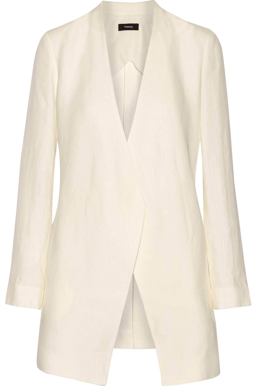 Theory. Women's White Winola Draped Linen Blazer