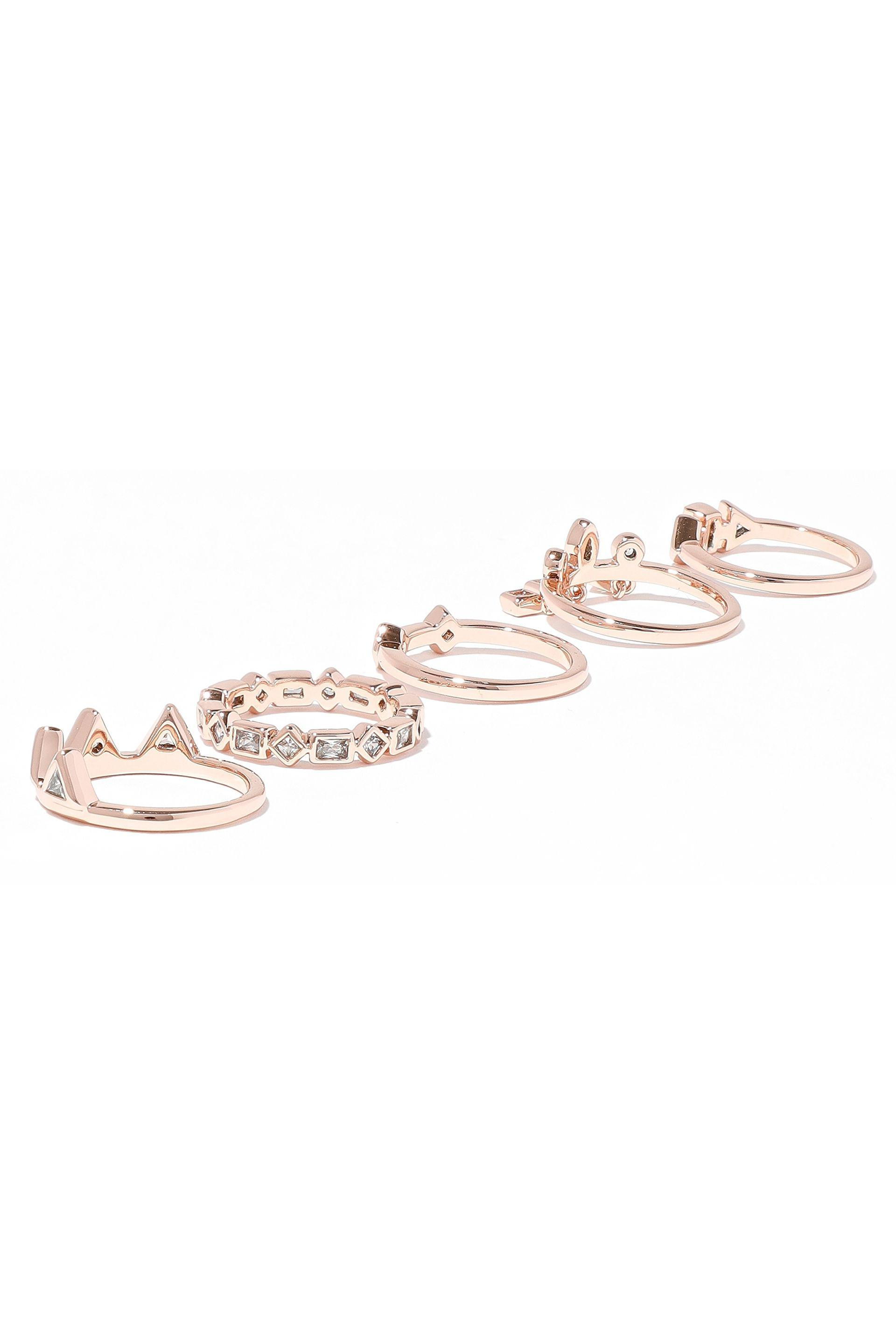 Luv Aj Woman Medley Set Of Five Rose Gold-tone Crystal Rings Rose Gold Size 5 Luv AJ