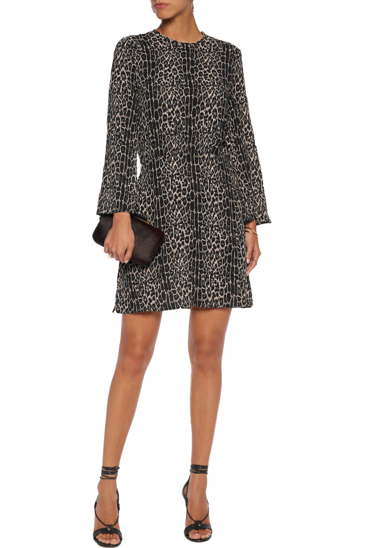 0fdb5400f0 Lyst - Zimmermann Leopard-print Crepe Mini Dress in Black