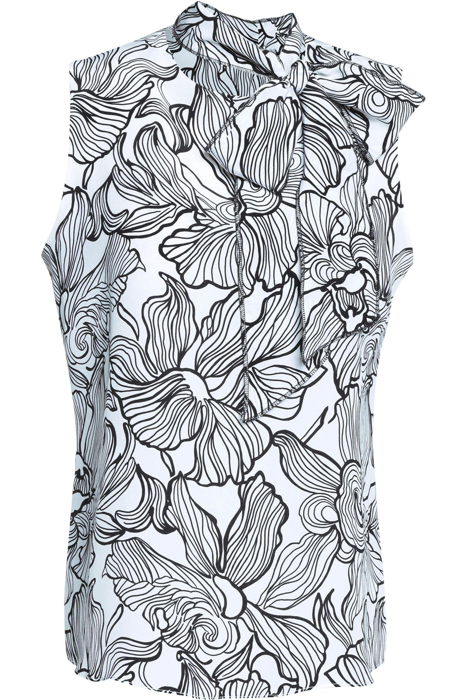 20273ea3f6f81f Lyst - Oscar De La Renta Lily Pussy-bow Printed Silk Blouse in White