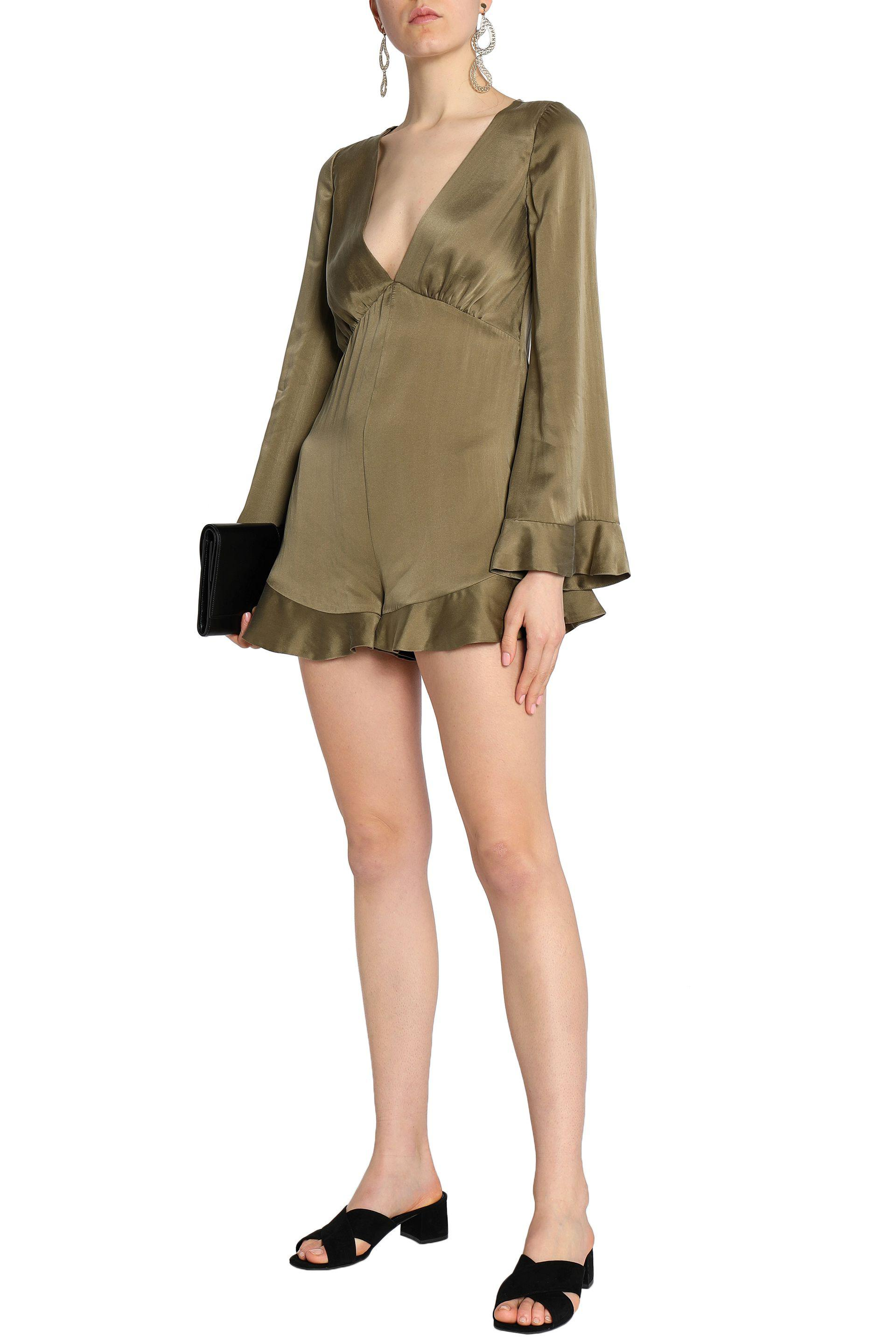0c438c269bf2 Lyst - Zimmermann Ruffle-trimmed Washed-silk Playsuit in Green