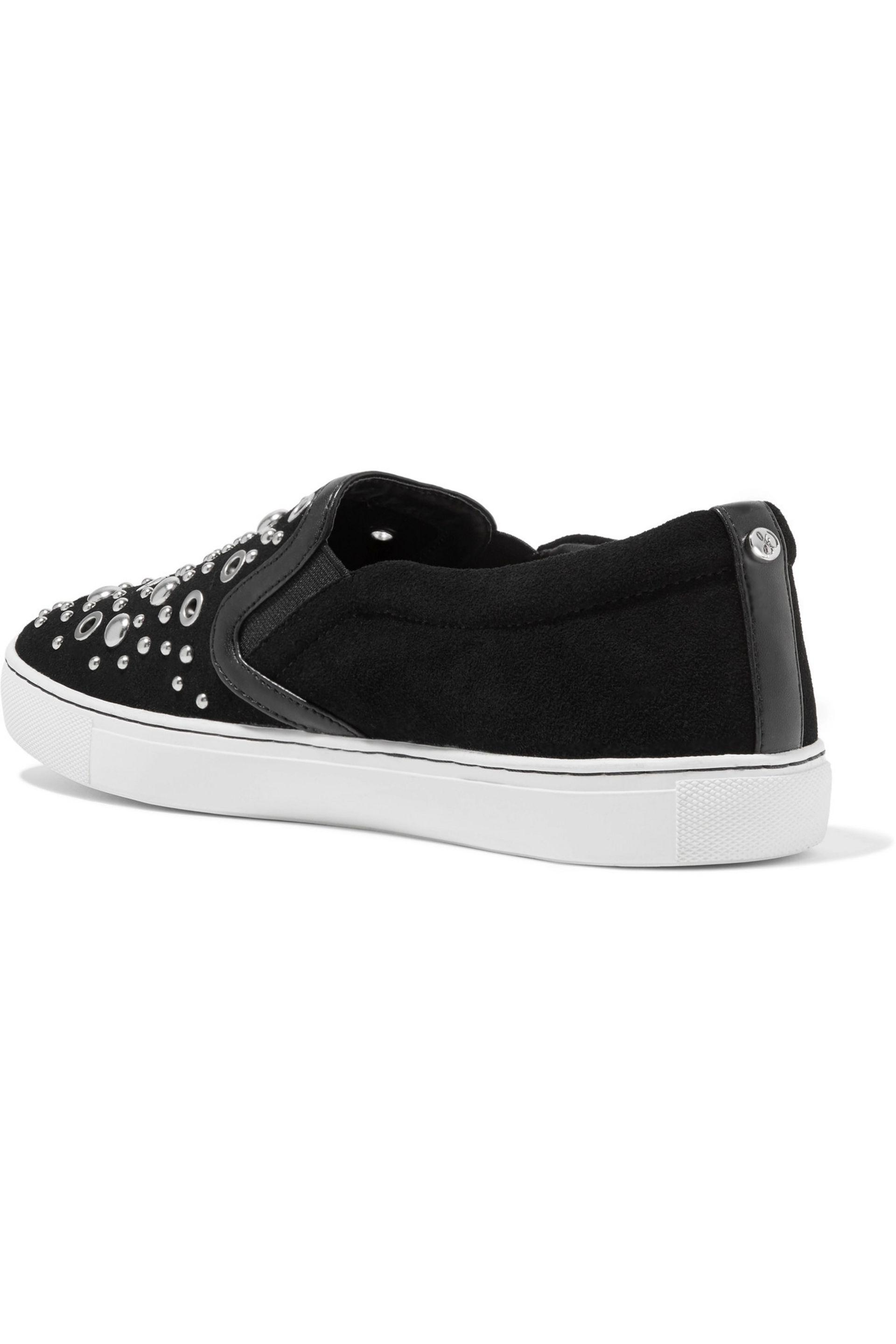 Sam Edelman Paven Embellished Leather And Suede Slip-on Sneakers in Black