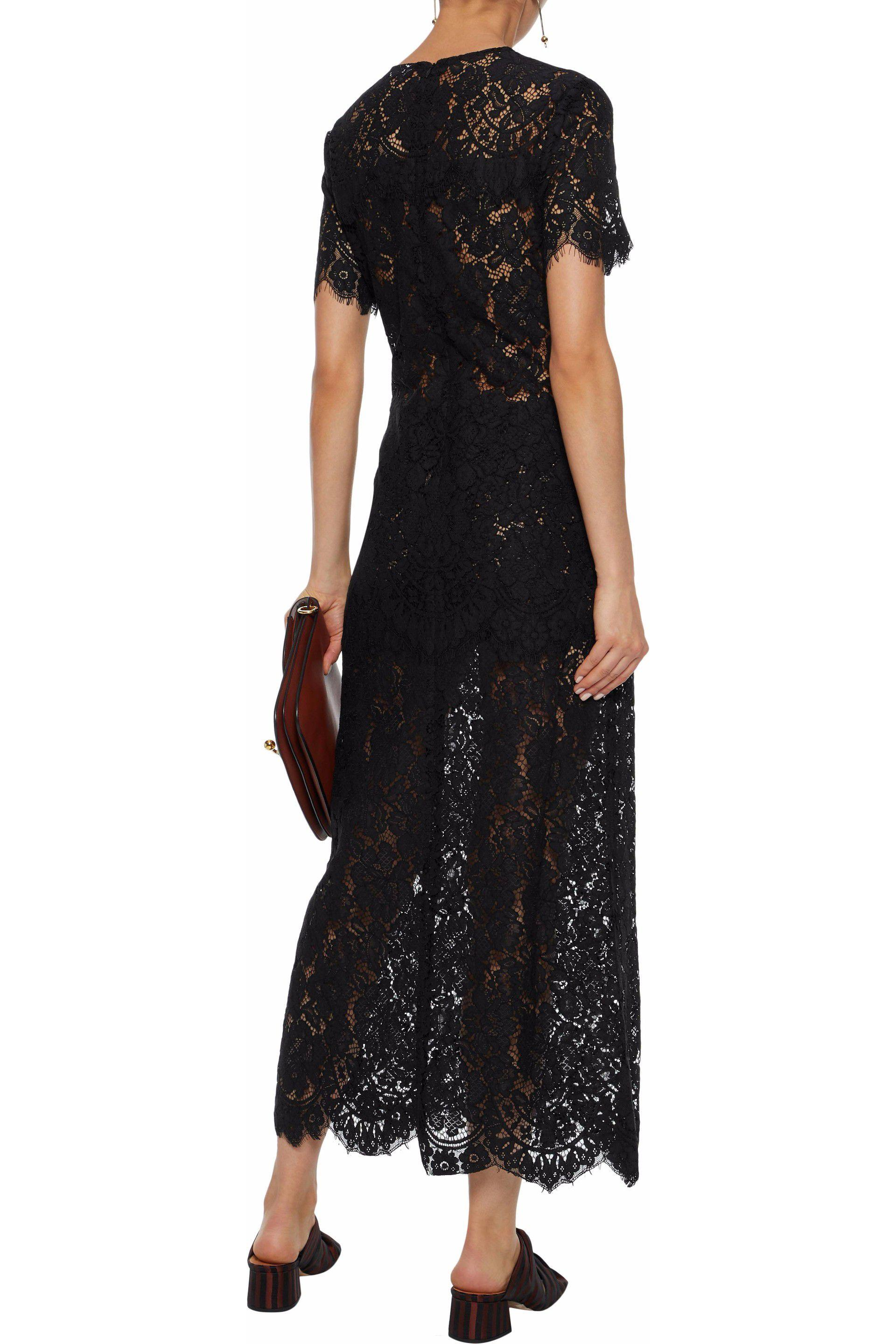ganni duval lace maxi dress