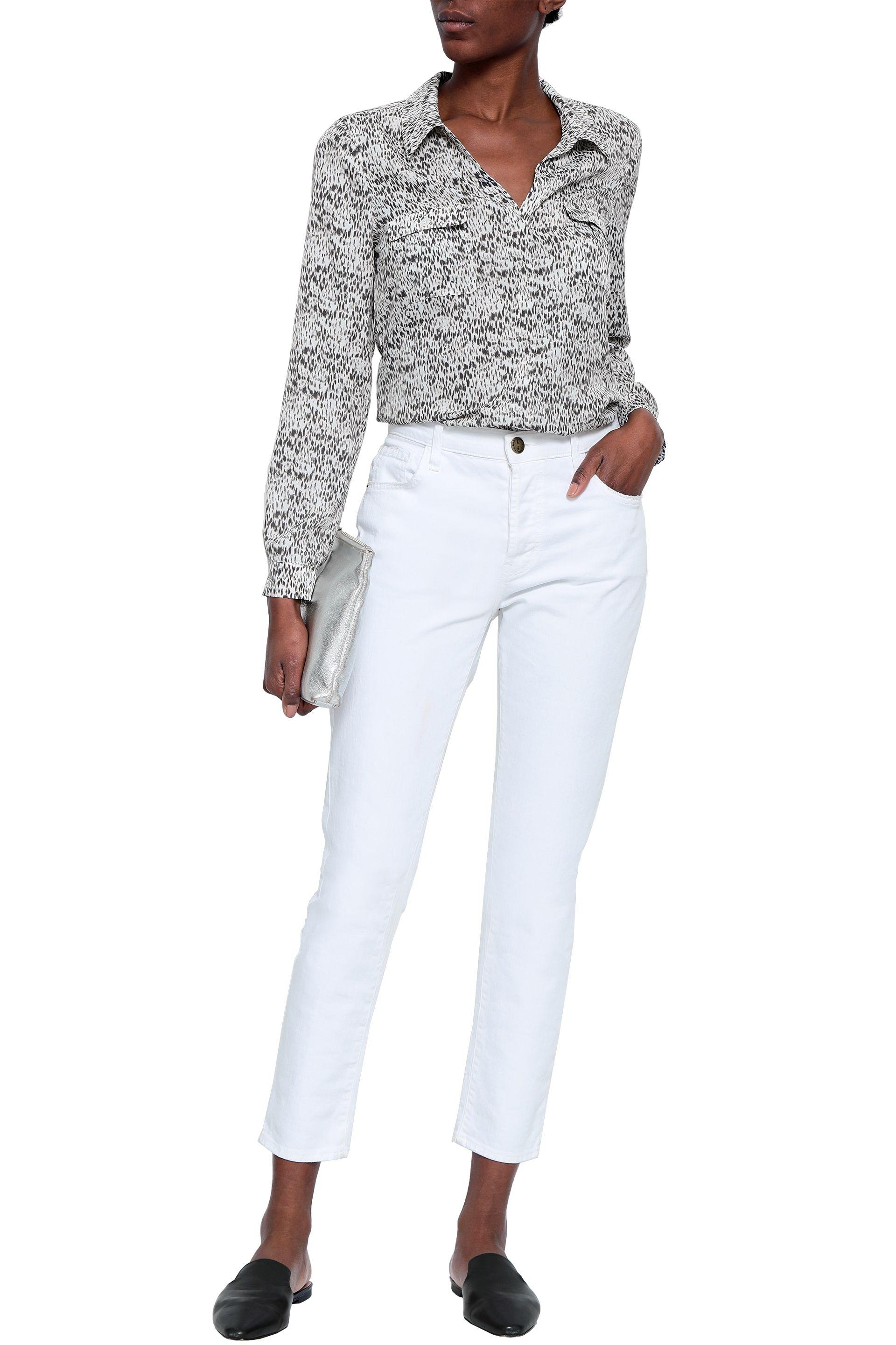 4413ff4f3c1c2 Joie Woman Booker Printed Crepe De Chine Shirt Off-white in White - Lyst