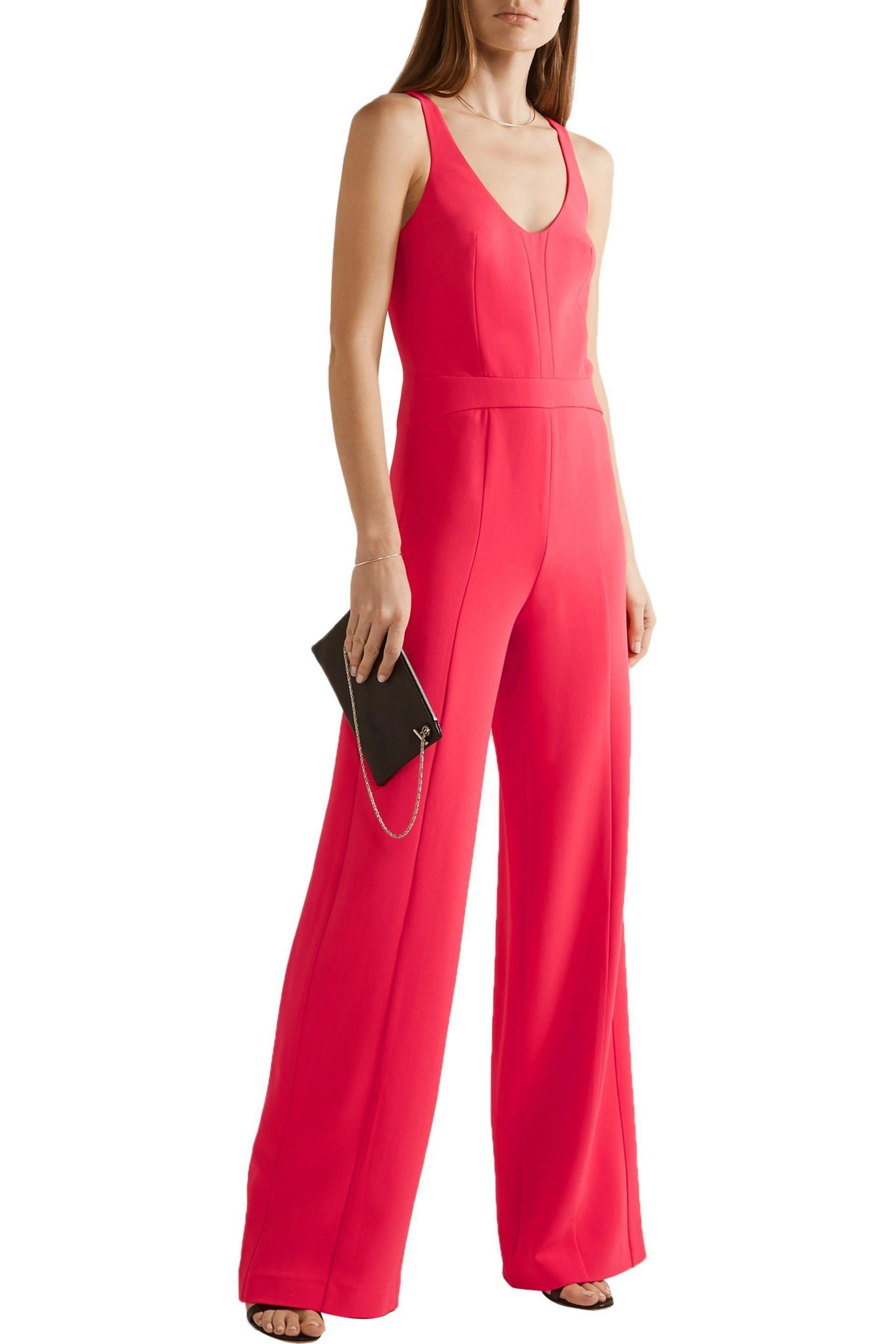 fed682d1e270 Lyst - Narciso Rodriguez Cutout Textured Stretch-crepe Jumpsuit in Red