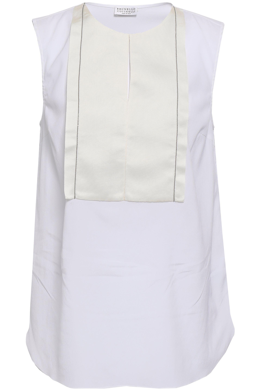 4981c9b0b2b96 Brunello Cucinelli. Women s Woman Bead-embellished Grosgrain-trimmed Stretch -silk Blouse White