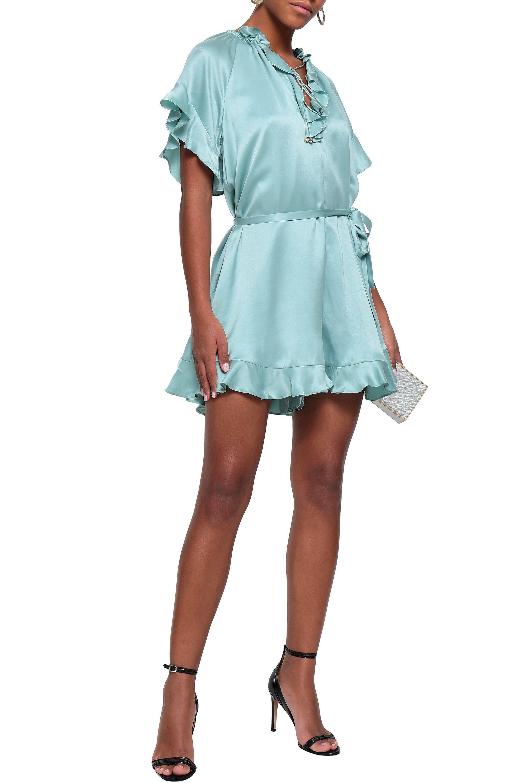 e235d1c99a Zimmermann - Blue Woman Ruffled Silk-satin Playsuit Turquoise - Lyst. View  fullscreen