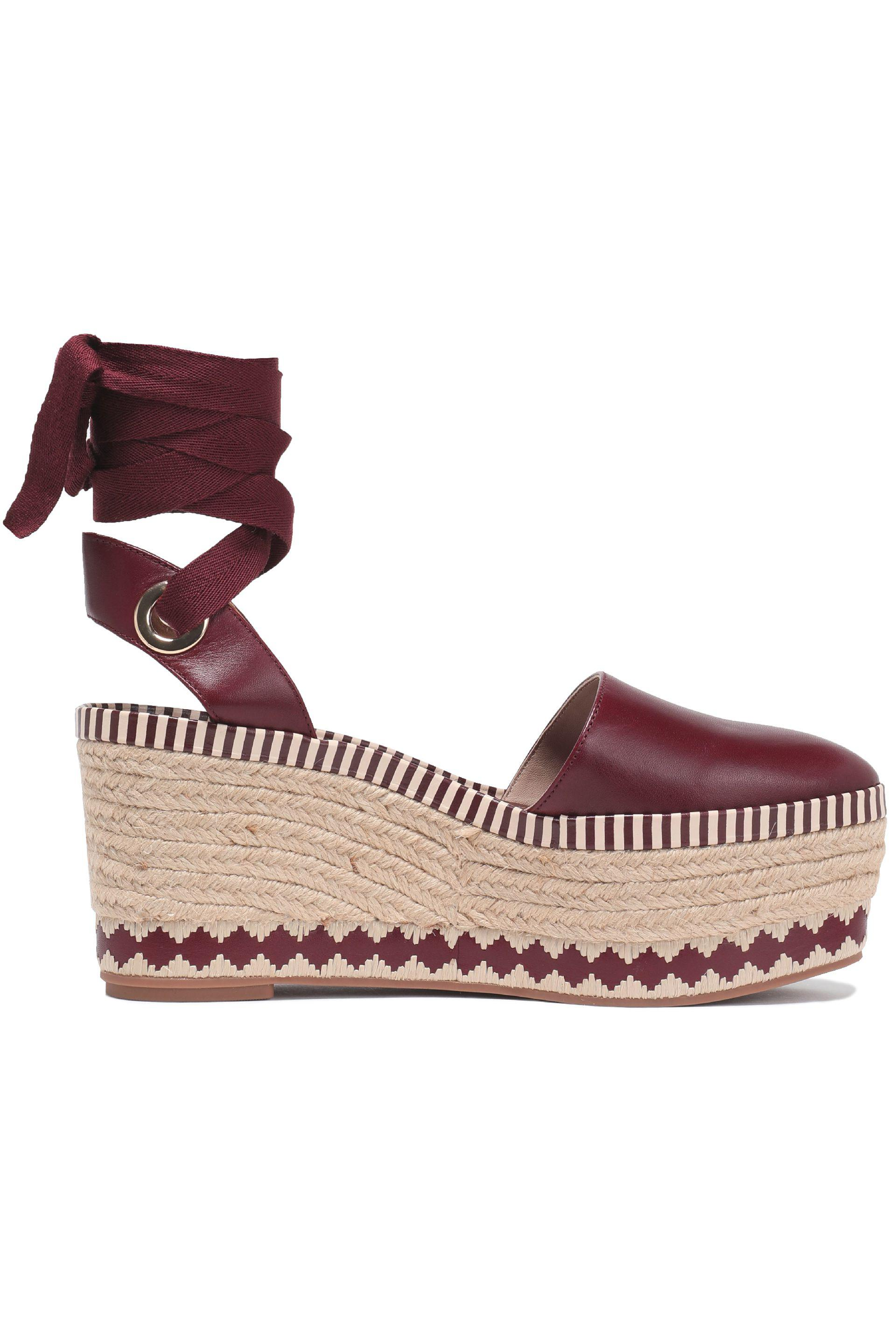92b393bed Tory Burch Lace-up Leather Platform Espadrilles in Brown - Lyst