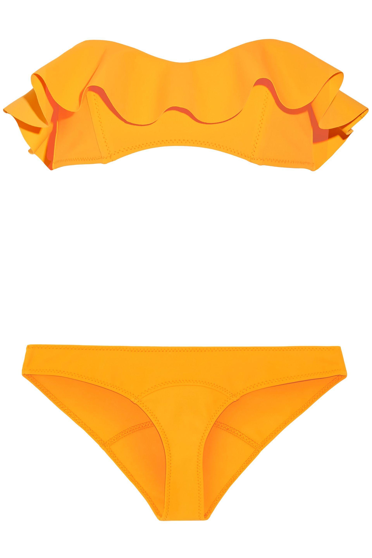 6cc5c306791ab Lisa Marie Fernandez. Women s Orange Woman Natalie Flounce Ruffled Bandeau  Bikini Marigold