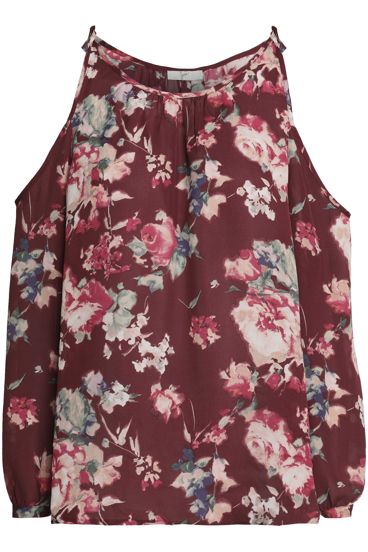 Buy Cheap Official Cheap Price Wholesale Price Joie Woman Jilette Cold-shoulder Floral-print Silk Blouse Claret Size S Joie Largest Supplier 2018 Cool SN2lAW