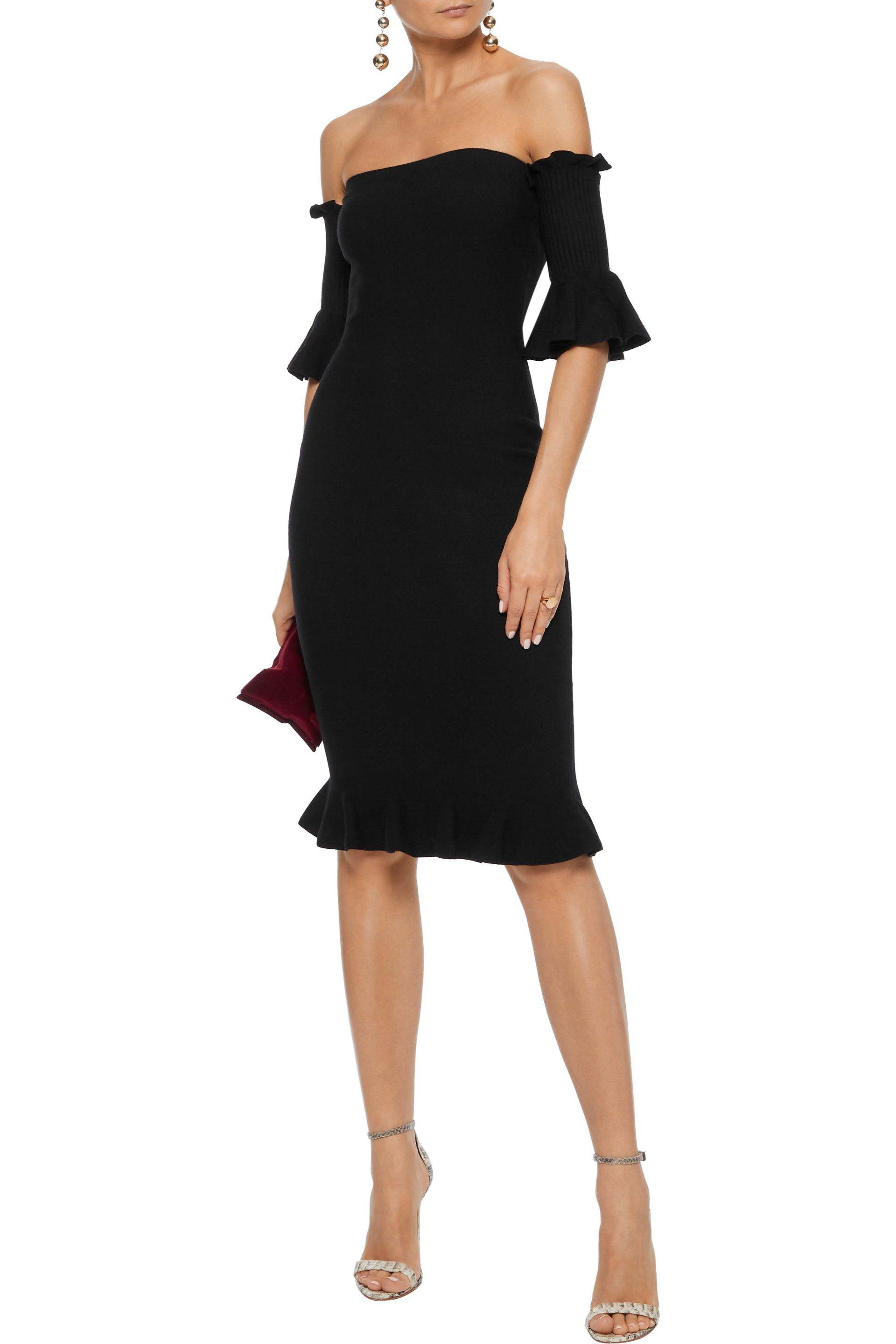 6e58995438aa MILLY - Black Off-the-shoulder Ruffle-trimmed Stretch-knit Dress -. View  fullscreen
