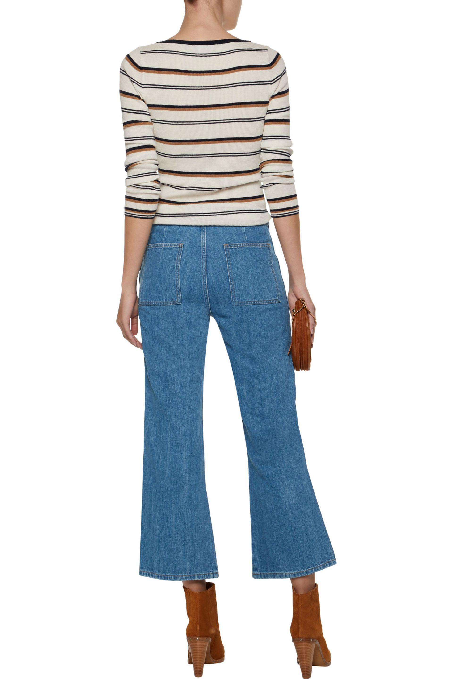 M.i.h Jeans Denim Arrow Zip-detailed High-rise Kick-flare Jeans in Mid Denim (Blue)