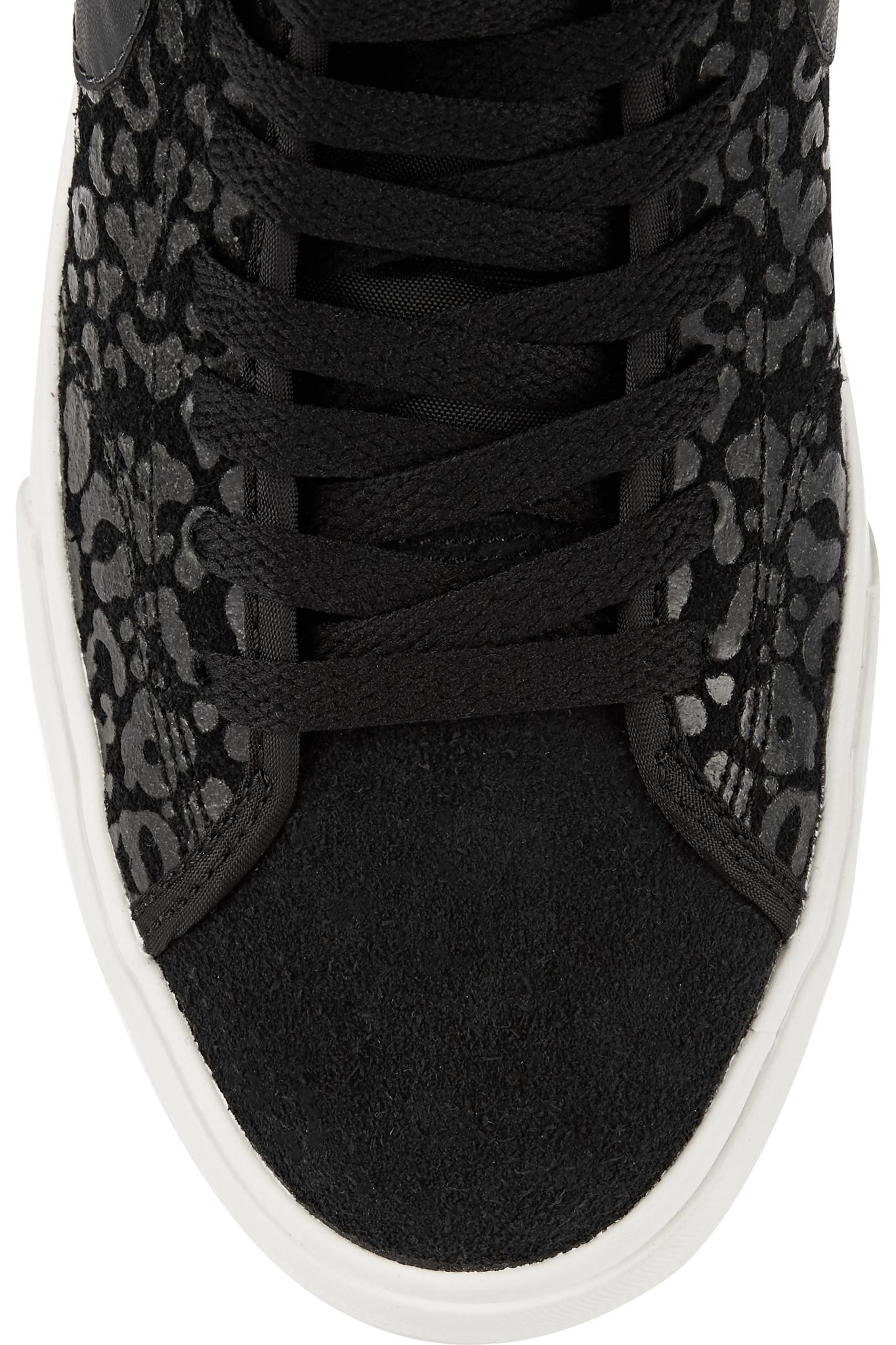 4e2704c9c565 Nike Primo Court Leopard-print Suede High-top Sneakers in Black - Lyst