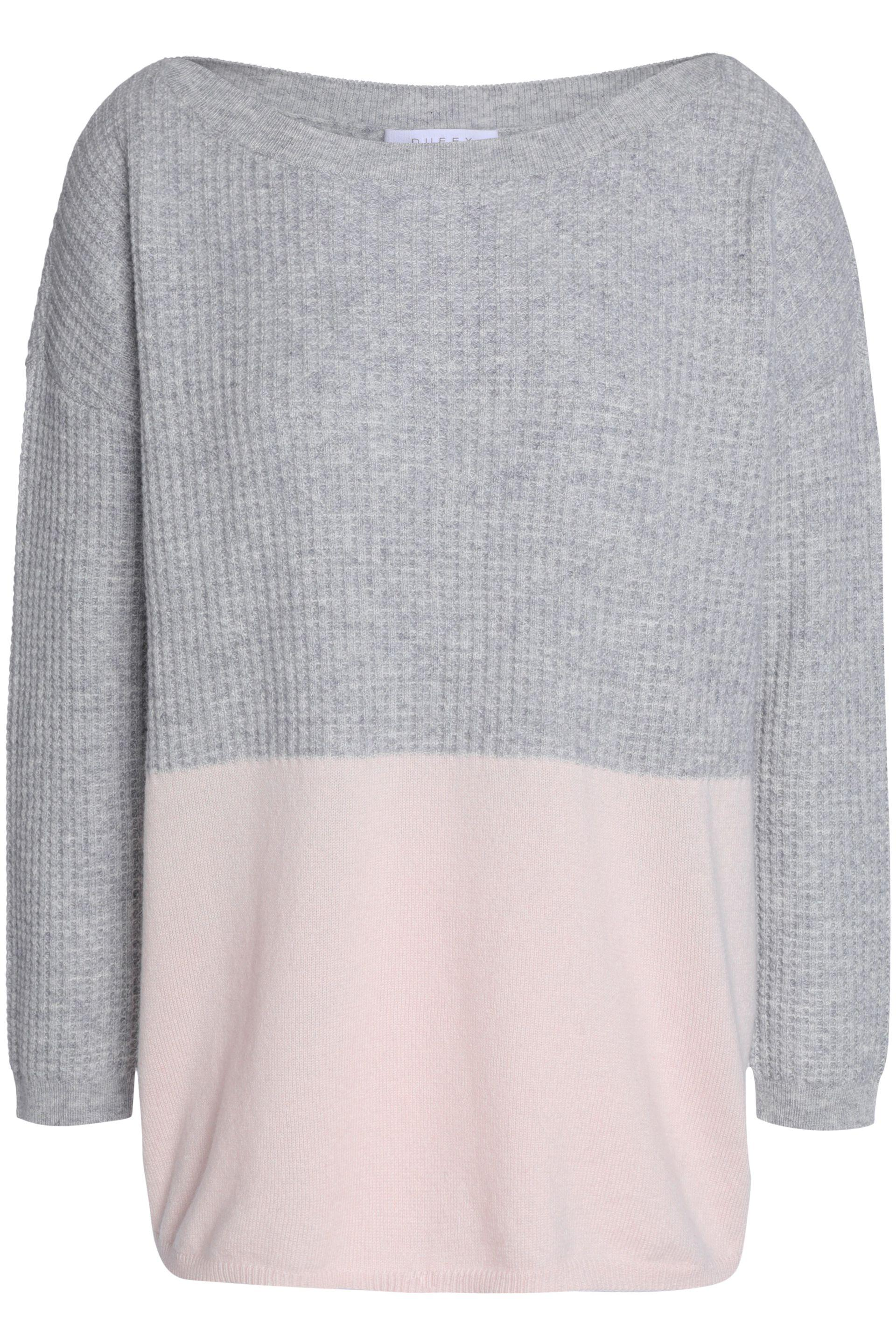 663836bcc9af7d Duffy Woman Waffle Knit-paneled Two-tone Cashmere Sweater Gray in ...
