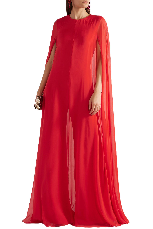 cea3f31fe2b Reem Acra - Woman Cape-effect Silk-chiffon Jumpsuit Red - Lyst. View  fullscreen