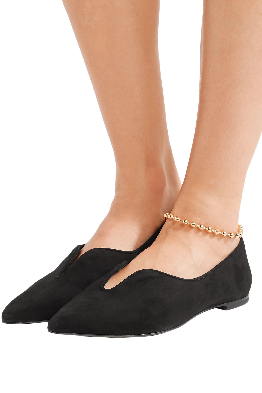 67eb9fe3fb1227 Tory Burch - Woman Lucia Oxford Suede Point-toe Flats Black - Lyst. View  fullscreen