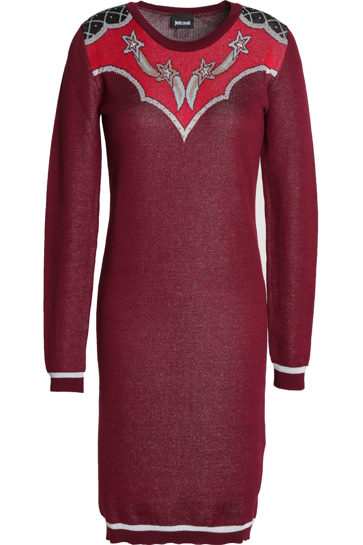 Just Cavalli Woman Metallic Intarsia-knit Mini Dress Gray Size M Just Cavalli Professional For Sale nqiXk