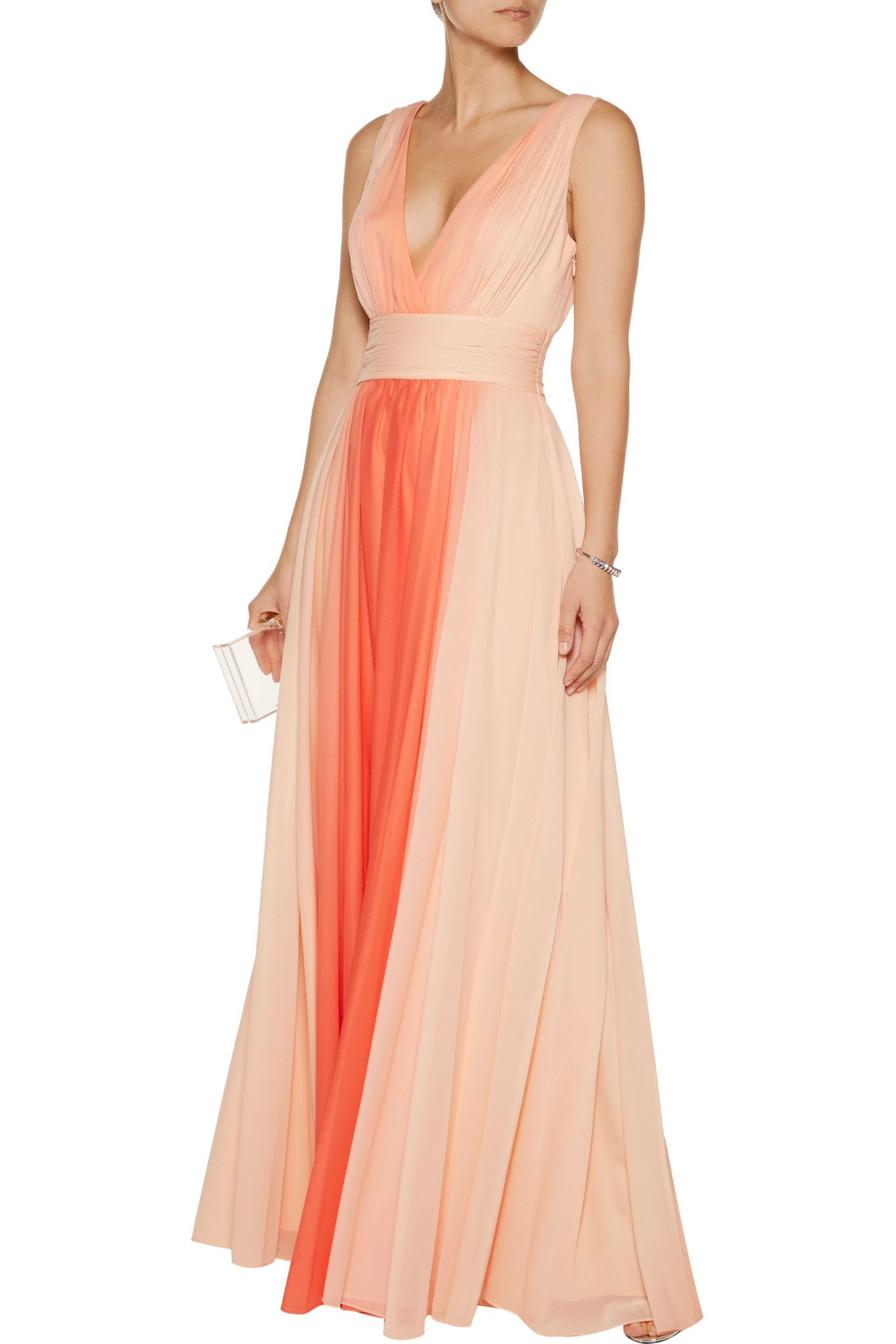Halston Woman Ombr 233 Pleated Chiffon Gown Coral In Orange