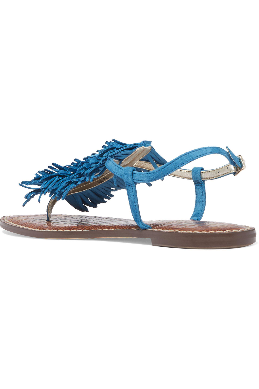 Lyst Sam Edelman Gela Fringed Suede Sandals In Blue