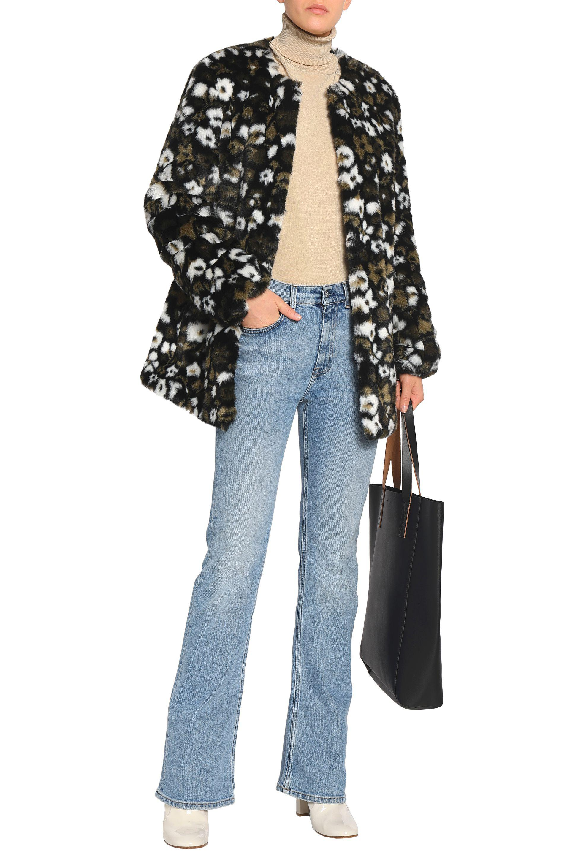 fddbcc92adc2e MICHAEL Michael Kors Floral-print Faux Fur Coat Army Green in Green ...
