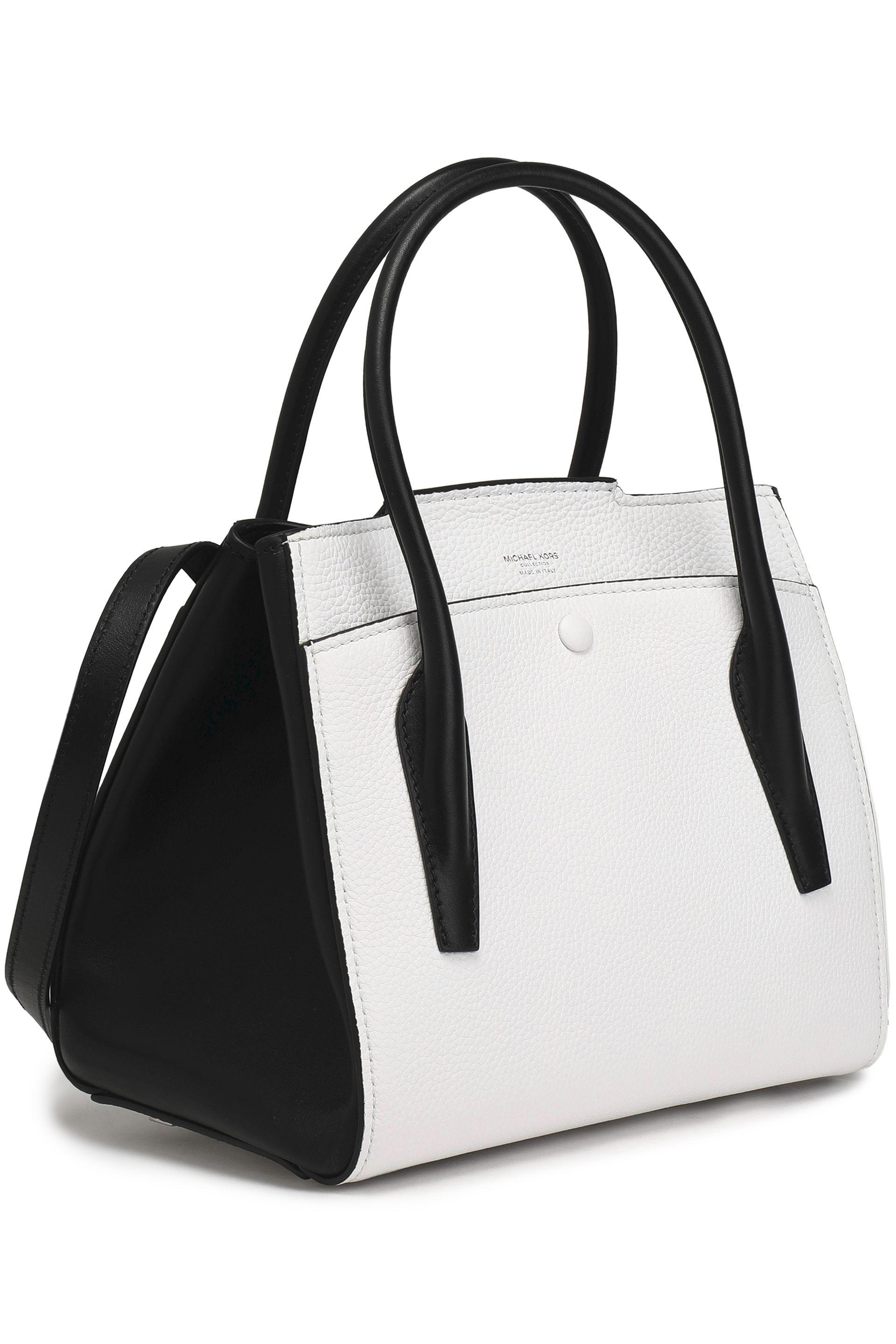 ... Black Two-tone Smooth And Textured-leather Shoulder Bag - Lyst. View  fullscreen 5169f529c3421