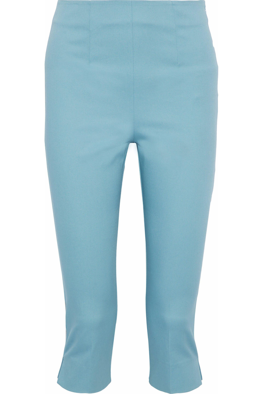 54b5ca44b402 Lyst - Red Valentino Cropped Cotton-blend Twill Slim-leg Pants Sky ...