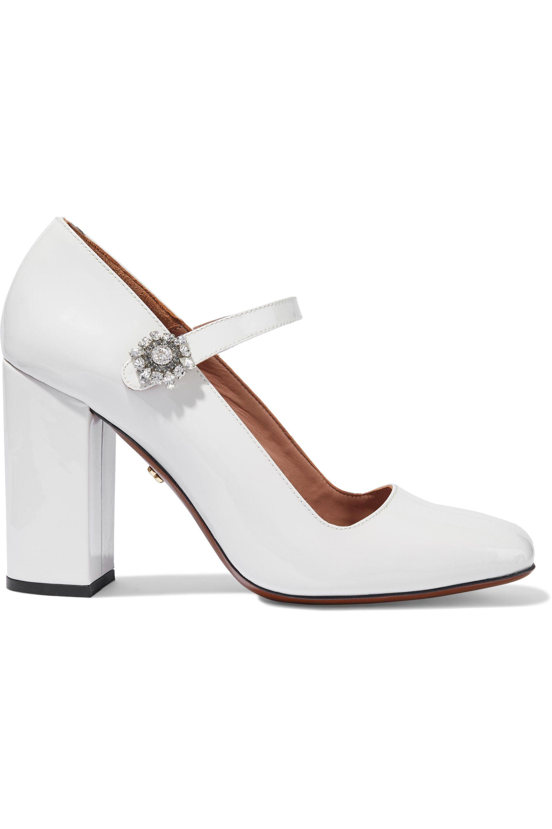 b2ba6d0af95e15 AlexaChung - Woman Crystal-embellished Patent-leather Mary Jane Pumps  Off-white -. View fullscreen